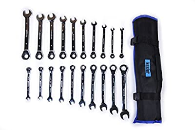 Kesler 20 Piece Full Polish SAE and Metric Ratcheting Wrench Set - Combination Ratchet Wrench Set with Roll-up Tool Bag