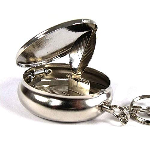 (Smartdealspro Stainless Steel Portable Pocket Circular Ashtray Key Chain with Cigarette Snuffer)