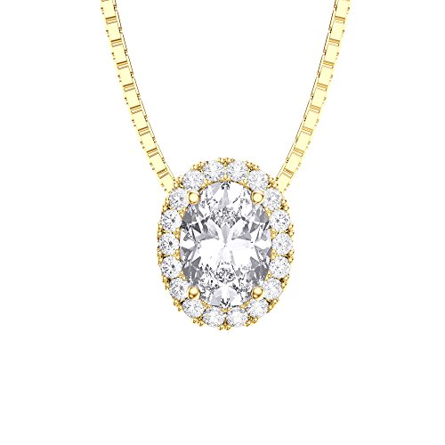 Eternity Diamant Or Argent Pendentif Ovale (Jaune)