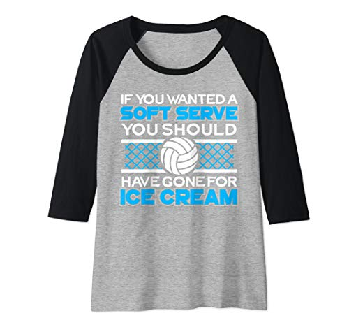 Womens Soft Serve Ice Cream I Volleyball Lover Raglan Baseball Tee