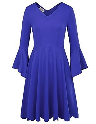GRACE KARIN Women's Classic Retro V Neck Bell Sleeve Swing A-Line Dress