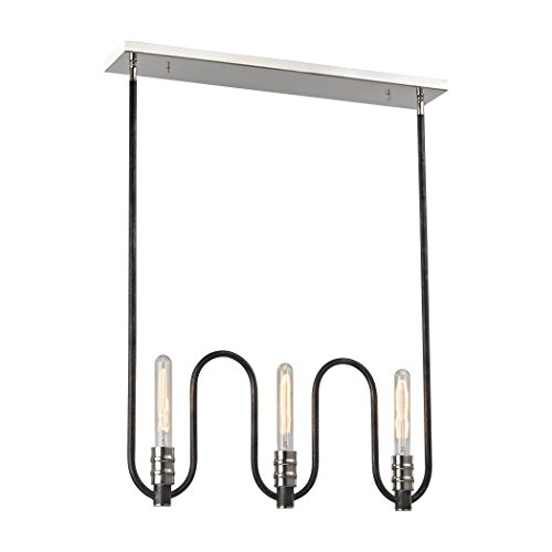 Alumbrada Collection Continuum 6 Light Chandelier In Silvered Graphite With Polished Nickel Accents