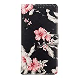 Miagon for Samsung Galaxy S10 Plus Marble Wallet Case,PU Leather Flip Case Magnetic Closure Stand Function Folio Cover Shell,Pink Flower