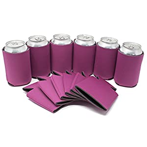 TahoeBay 12 Can Sleeves - Fuchsia Beer Coolies for Cans and Bottles - Bulk Blank Collapsible Drink Coolers – Create Custom Wedding Favor, Funny Party Gift (12-Pack)