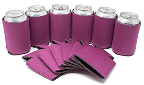 Scuba Foam - TahoeBay 12 Can Sleeves - Fuchsia Beer Coolies for Cans and Bottles - Bulk Blank Collapsible Drink Coolers – Create Custom Wedding Favor, Funny Party Gift (12-Pack)