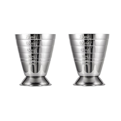 Bar Jigger Cocktail Jigger Stainless Steel with 3 Engraved Measurement Unit oz/ml/tbsp 2.5oz by Homestia,Set of 2 by Homestia