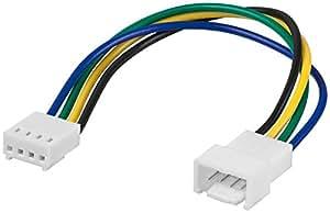 Wentronic - Cable alargador para ventilador (entrada y salida de 4 pines), color blanco