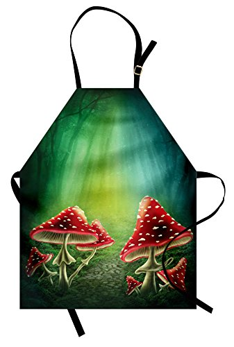 Ambesonne Mushroom Apron, Dark Forest with Mushrooms Adventure Misty Mysterious Wizard Witch Magic, Unisex Kitchen Bib Apron with Adjustable Neck for Cooking Baking Gardening, Red Green