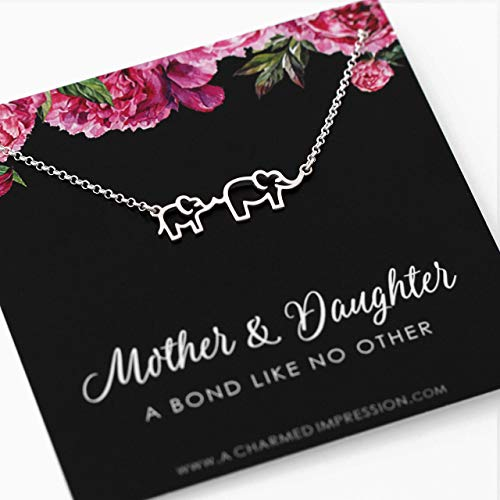 Mother and Daughter Necklace • Sterling Silver Elephant Necklace for 2 • Mother Elephant with Baby Jewelry • Expecting Pregnancy Push Present • Birthday Gifts • Christmas Gift Ideas for Mom Daughter (Outline Elephant Baby)