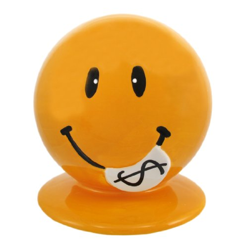 Adorable Yellow Ceramic Happy Face Money Bank Smiley