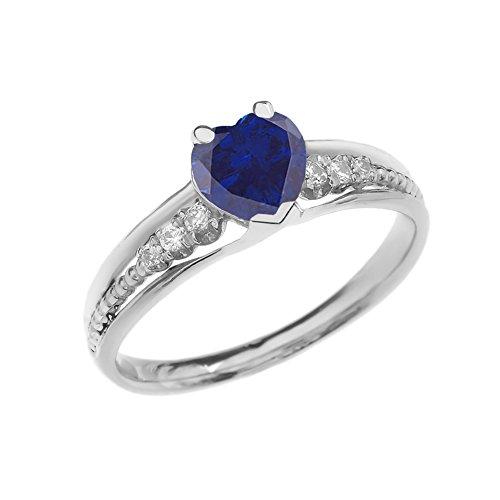 Beaded Heart 14k (Dazzling 14k White Gold Diamond And September Birthstone Heart Beaded Promise Ring (Size 11))