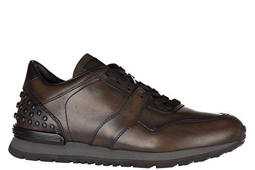 Tod's chaussures baskets sneakers homme en cuir allacciate dots spoiler marron