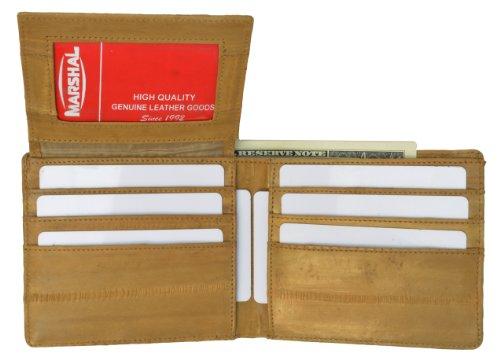 Eel Skin Bi Fold Wallet with Id Window for Men (Tan) ()