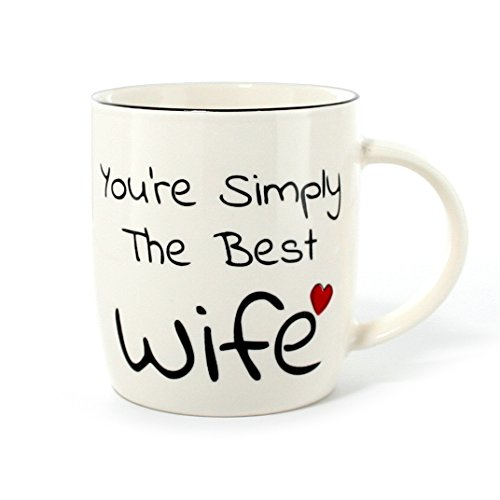 Gifffted Best Wife Coffee Mug,Youre Simply The Best Wife, Romantic Unique Birthday Gift For Her and Married Anniversary Wives Gifts From Husband For Women, Ceramic, 13 Ounce