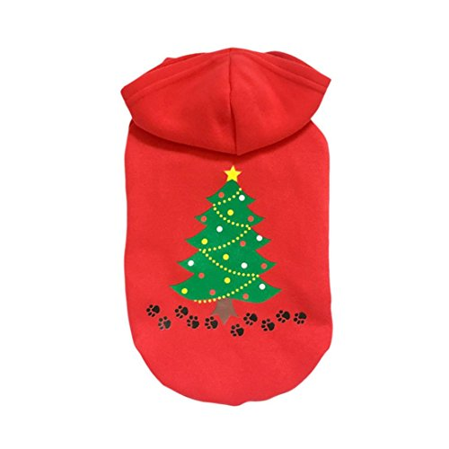AMA(TM) Christmas Pet Puppy Dog Clothes Tree Elk Printed Santa Doggy Hooded Sweatershirt Hoodie Costumes (XL, C)