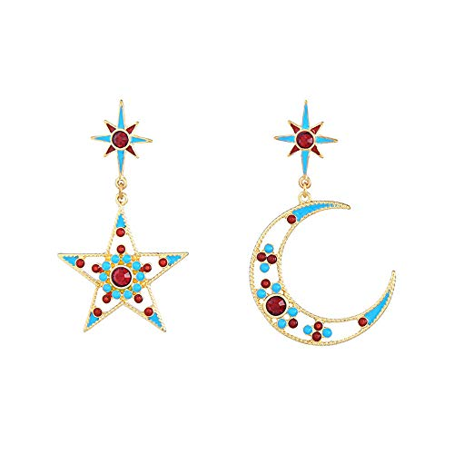 Belmarti Handmade Christmas Dangle 925 Sterling Silver Stud Earrings Holiday Party Drop Earrings Vintage Colorful Cute Christmas Costume Jewelry for Women Girls (Star and ()