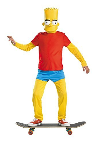 UHC Boy's Bart Simpson Deluxe Kids Child Fancy Dress Party Halloween Costume, L -