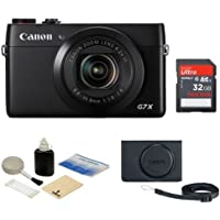 Canon PowerShot G7 X Digital Camera Bundle, Includes 32GB SDHC Memory Card, Canon PSC-5300BK Leather Case, Kellards Cleaning Kit Overview Review Image