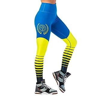 Zumba High Waisted Leggings for Women Dance Compression Butt Lift Workout Pants, Jersey Blue, M