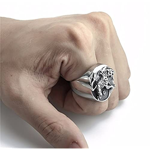 Elfasio Men's Stainless Steel Ring Tiger Yin and yang tai chi Chinese Style Fashion Jewelry