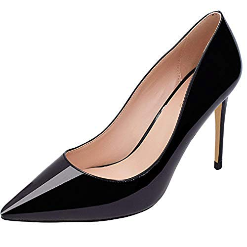 LOVIRS Womens Black Office Basic Slip on Pumps Stiletto Mid-Heel Pointy Toe Shoes for Party Dress 12 M US