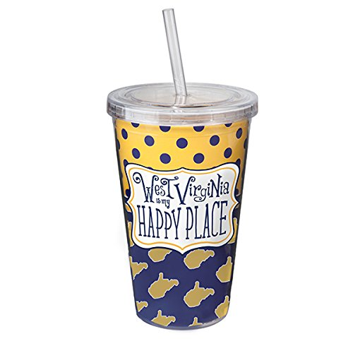West Virginia is My Happy Place, Tumbler Sipper Cup w Straw - WVU Mountaineers 16oz