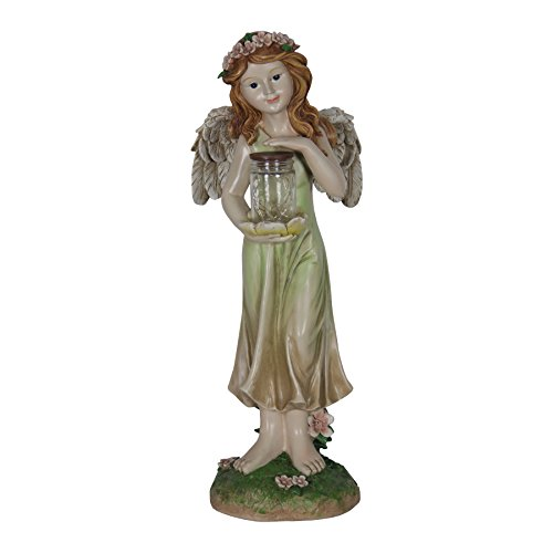 Exhart Solar Angel with Pink Floral Crown with Firefly Jar Garden Statue, Resin & Glass, Solar Powered, 7