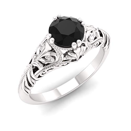Diamondere Natural and Certified Onyx Engagement Ring in 14K White Gold | 0.43 Carat Victorian Vintage Style Solitaire Art Deco Ring for Women, US Size 7