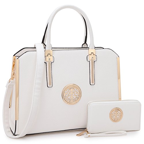 (Women Fashion Purses and Handbags Briefcase Ladies Tote Purse Top Handle Satchel Laptop Shoulder Work Bag (Buffalo Leather- White))
