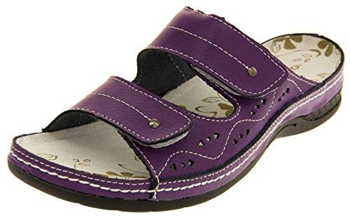 Funda de piel para mujer Velcro enfriadores de planas Sz y pedrería para mujer traje de neopreno para mujer zapatos de tamaño de la funda de 4 5 6 7 8 púrpura - morado