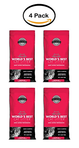 PACK OF 4 - World's Best Cat Litter Multiple Cat Clumping Formula, 8 lb (World's Best Kitty Litter)
