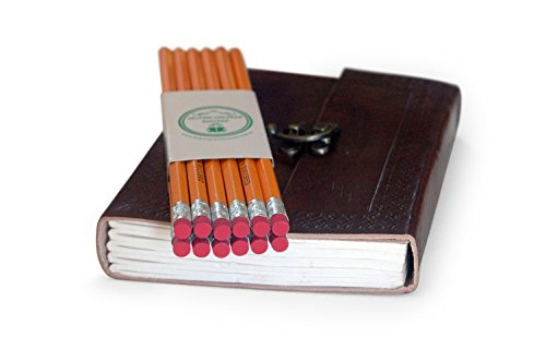 Handmade Lead - Back to School Special : Bonded Lead Pencils With Handmade Genuine Embossed Leather Teacher Diary With Clasp Closure (Brown)