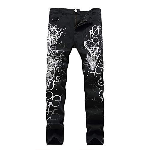 Stampa Della Alta Pantaloni Metà Versaces Digitale Vita Tempo Slim Elasticità Jeans Vestibilità Black Maschi Libero PRwqxUzI