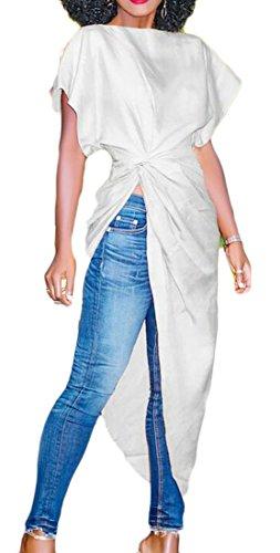 Delle Donne Domple Solido Manica Corta Irregolari Abito Bianco Camicie Eleganti Pieghe Axpaw6qxS