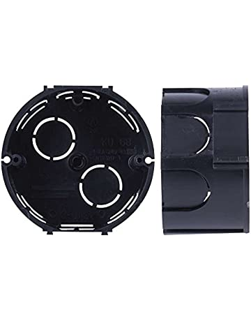 10x Caja de Registro Electrico Empotrar Pladur Circular Tapa ABS Negra