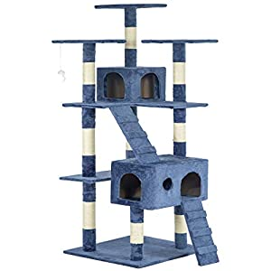 BestPet 9073 73-Inch Cat Tree Scratcher Play House Condo Furniture Toy Bed Post, Navy Blue 104