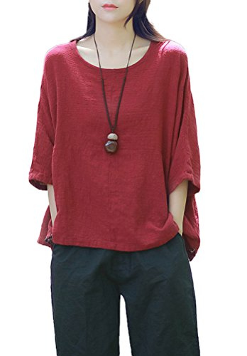 Soojun Women's Loose Patchwork Linen Blouses Batwing Sleeve Top T-shirts Winered