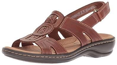 Clarks Women's Leisa Vine, Dark Tan Leather, 6 W