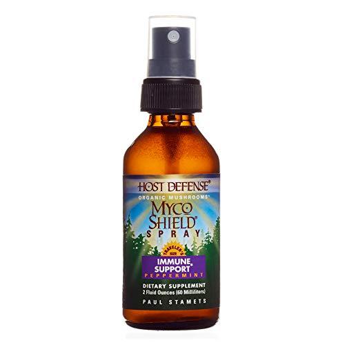 Host Defense – MycoShield Multi Mushroom Spray Peppermint, Daily Immune Support with Agarikon, Turkey Tails, and Reishi, Non-GMO, Vegan, Organic, 142 Servings 2 Ounces