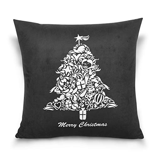 Merry Christmas Throw Pillow Covers,Santa Tree Lover Watch Xmas Movies Together Home Decor for Sofa -