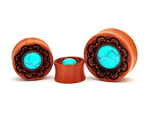 "Laser Engraved Saba Wood Flower Engraving with Turquoise Stone Inlay (PW-244) - Sold as a Pair (1-1/2"" (38mm))"