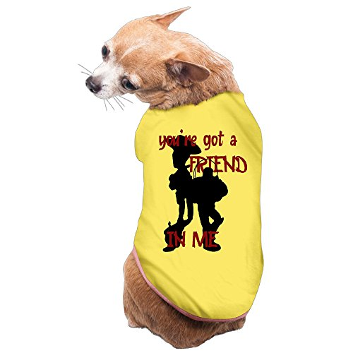 Buzz Dog Costume (ZOENA Cute Toy Story Friend In Me Buzz Woody Pet Dog Costumes Yellow Size S)