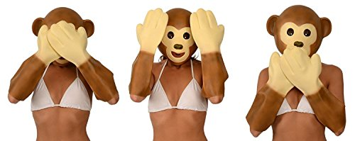 Kangaroo Emoji Universe: Monkey Latex Mask and Hands Costume - Unisex Animal Costume Good for Halloween, Masquerade, Birthday and Kids Party - Fit for All Adults and Kids]()