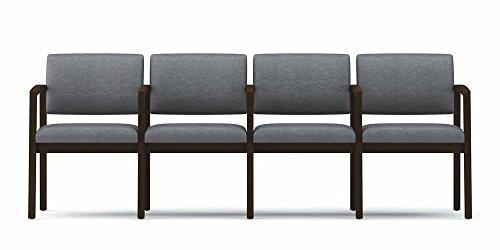 Lesro Lenox Series 4 Seats w/ Center Arms, Medium Finish, Core Burst Fabric - Lesro Four Seat