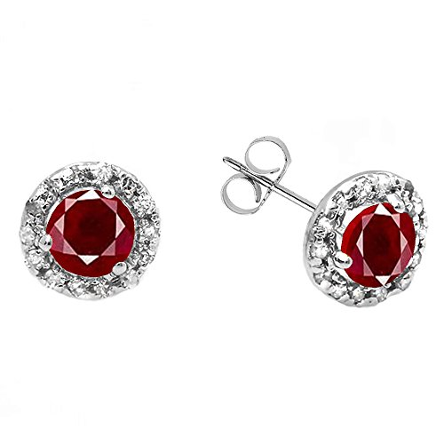 Dazzlingrock Collection 18K Round Created Ruby & White Diamond Halo Stud Earrings, White Gold (Ruby And Diamond Earrings 18k White Gold)