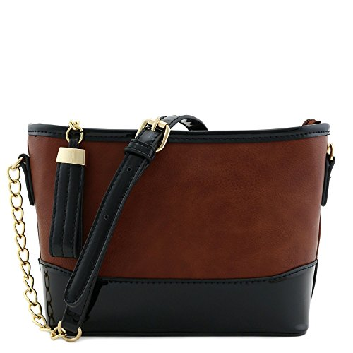 Coffee Shoulder Bag Handbag (Chain Strap Shoulder Bag with Patent Leather Trim Contrast Coffee)