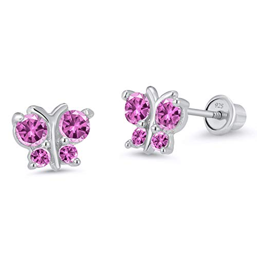 925 Sterling Silver Rhodium Plated Butterfly Pink Cubic Zirconia Stud Screwback Baby Girls ()
