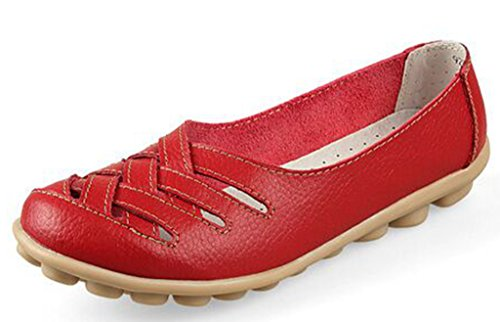 Labato Women's Leather Casual Cut Out Loafers Moccasin Driving Flats Slip-On Shoes Red-1