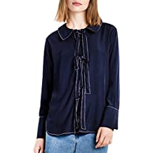 HaoDuoYi Womens Basic Navy Style Tie Front Vintage Pajama Top Shirt