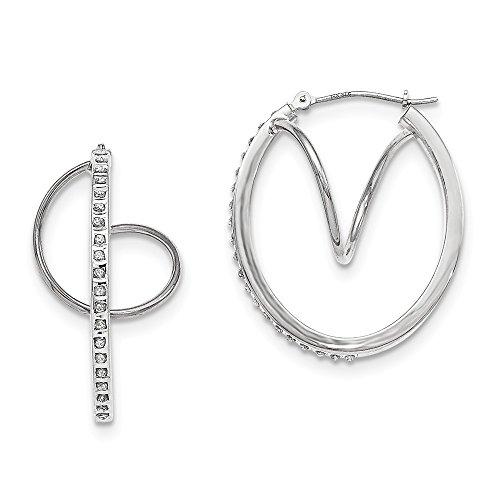 Mia Diamonds 14k White Gold (.01cttw) Diamond Fascination Twist Oval Hoop Earrings (35mm x 29mm)